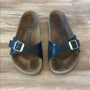 Birkenstock Madrid  Black Croc leather